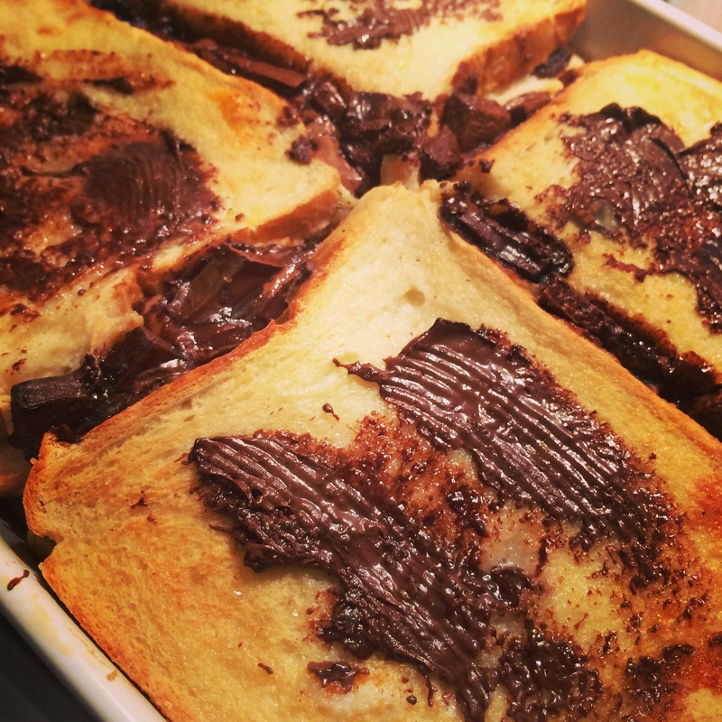 Double Decker Chocolate Bread and Butter Pudding