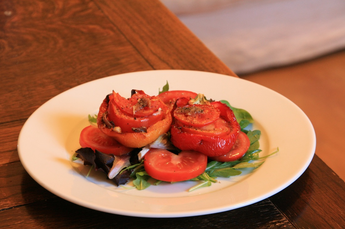 Roasted Peppers with Tomatoes and Anchovies