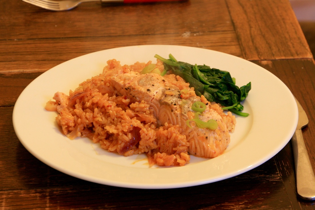 Elena's Red Thai Salmon Rice